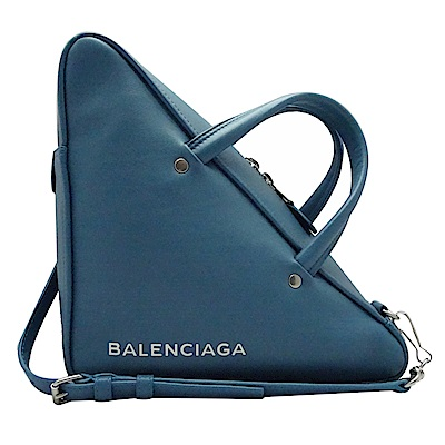 BALENCIAGA  全牛皮三角手提斜背包(藍色)
