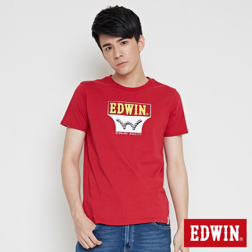 EDWIN 翻玩經典雙LOGO印花短袖T恤-男-紅色 @ Y!購物