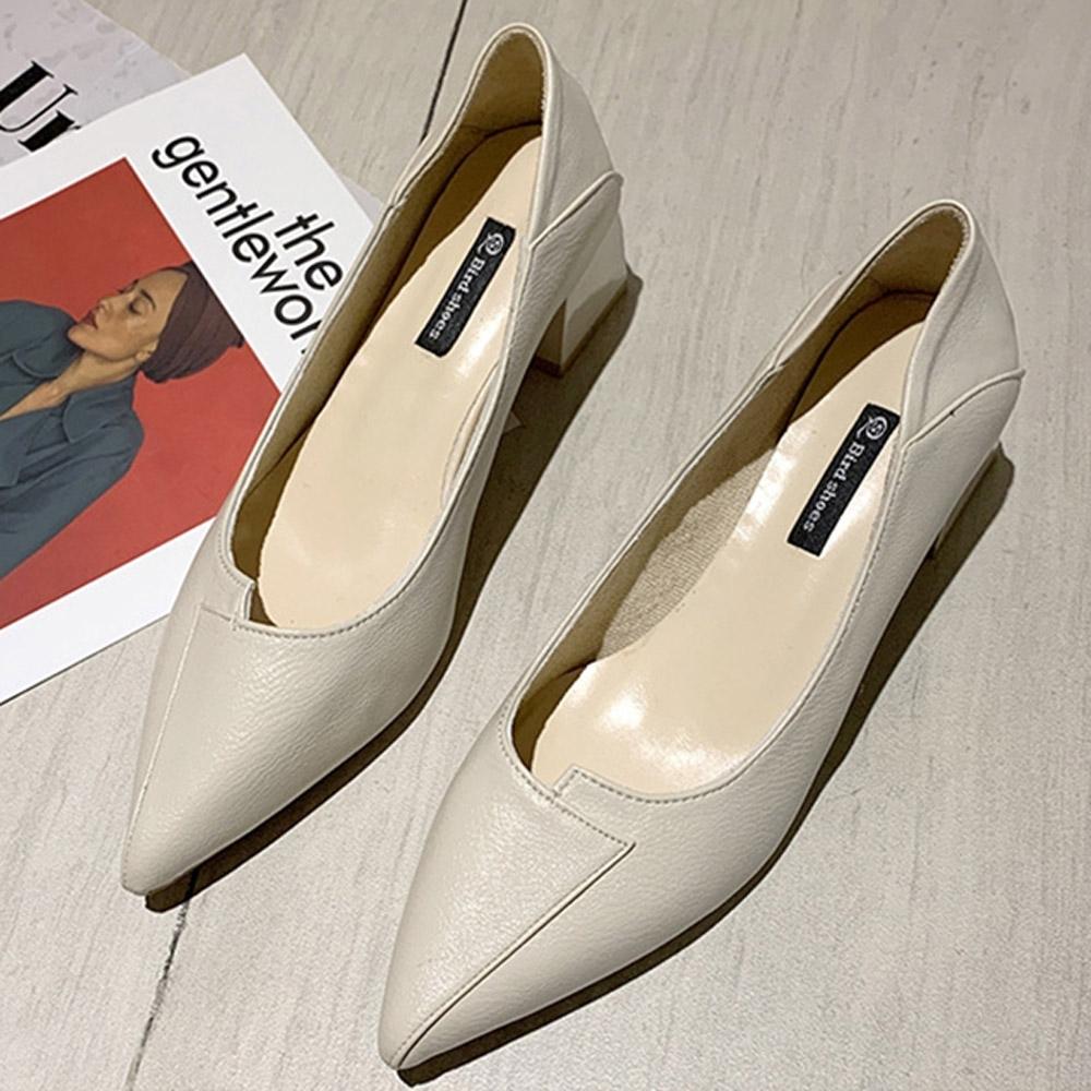 KEITH-WILL時尚鞋館 女人話題典雅素面跟鞋-米