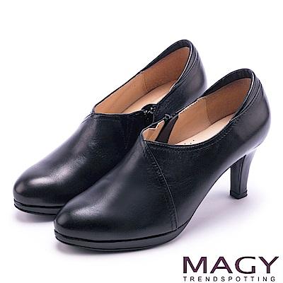 MAGY 紐約時尚步調 親膚防磨復真皮高跟鞋-霧黑