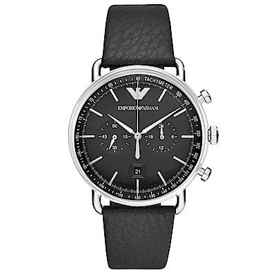 Emporio Armani 質感計時真皮手錶(AR11143)-黑X銀/43mm