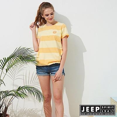 JEEP 女裝 條紋長版舒適短袖TEE-黃色