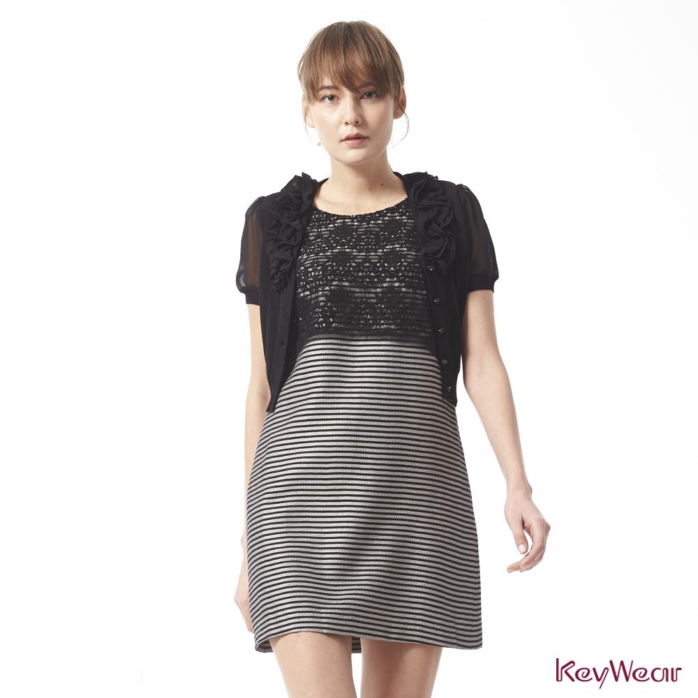 KeyWear奇威名品    優雅荷葉裝飾拼接雪紡袖短袖針織外套-黑色