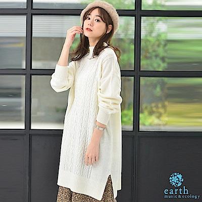 earth music 麻花辮側開衩高領連身針織洋裝