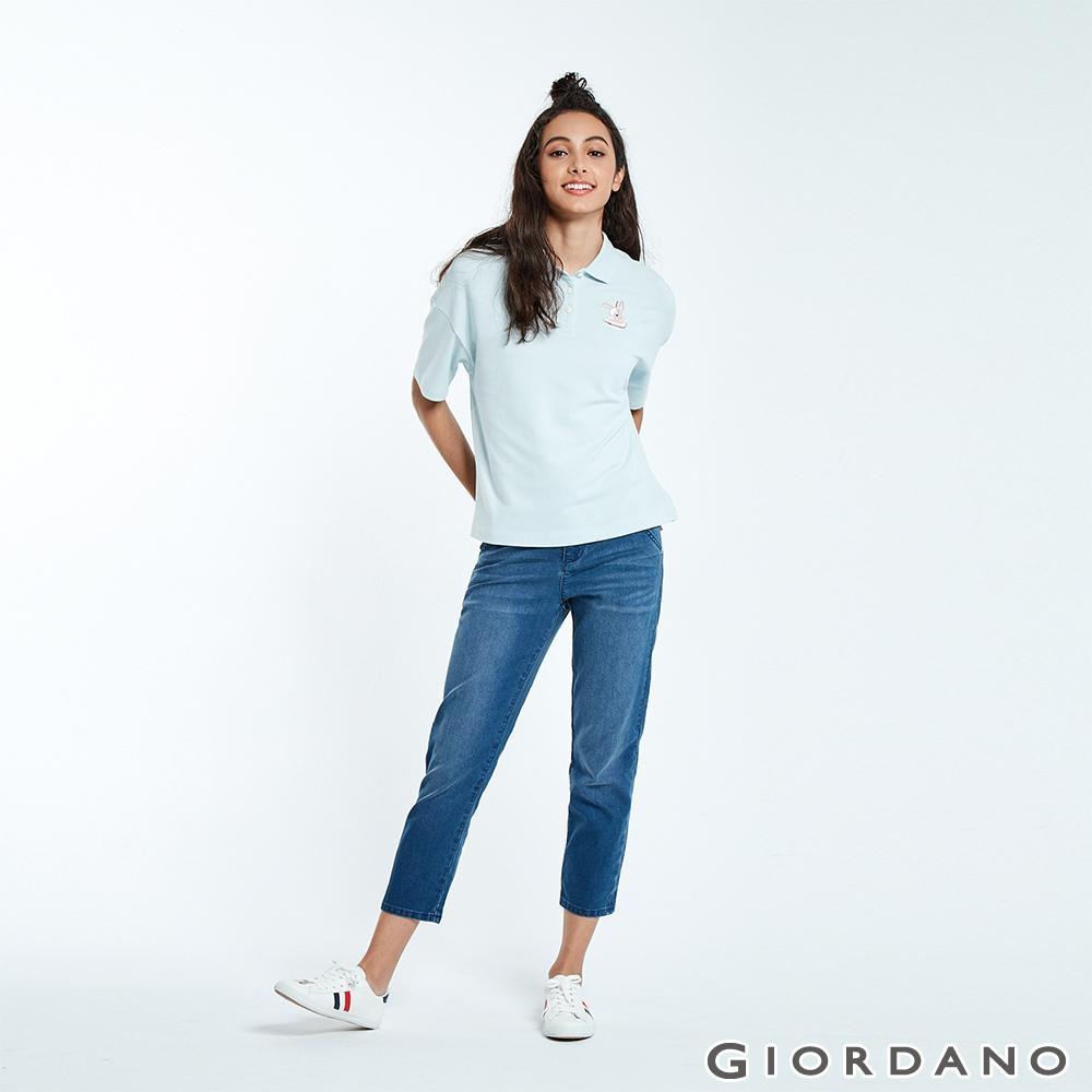 GIORDANO 女裝刷色中腰直筒九分牛仔褲-72 中藍