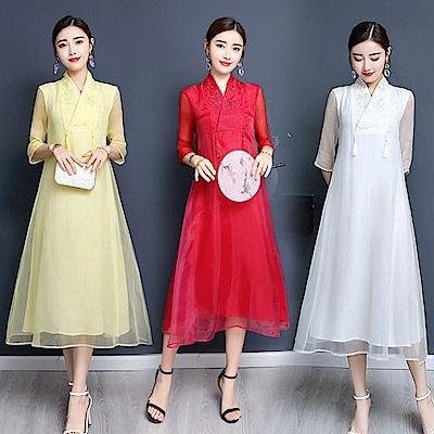 中國風典雅清新刺繡洋裝M-4XL(共三色)REKO