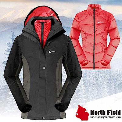 North Field 女 二件式防風防水外套+內層保暖羽絨夾克_鑽石黑