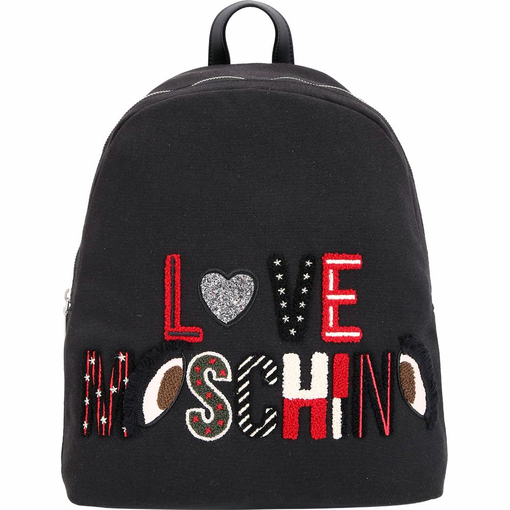 LOVE MOSCHINO Canvas 大型羊毛感字母拼貼後背包(黑色)