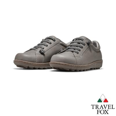 TRAVEL FOX(女) Goodday 牛皮免綁帶舒適休閒鞋 -好日子灰