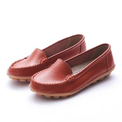 A one 牛皮素面莫卡辛休閒鞋-橘色