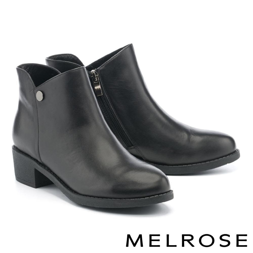短靴 MELROSE 質感簡約牛皮純色圓釦造型低跟短靴-黑