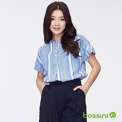 bossini女裝-棉麻開襟短袖罩衫02天藍