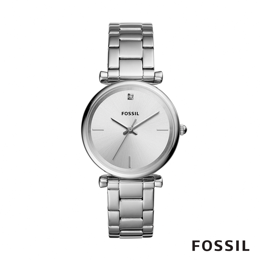 FOSSIL CARBON 不鏽鋼女錶