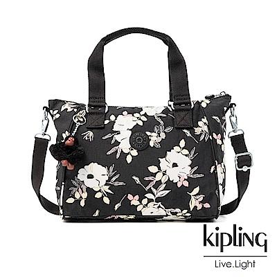 Kipling 沉靜黑浪漫花卉手提側背包-AMIEL