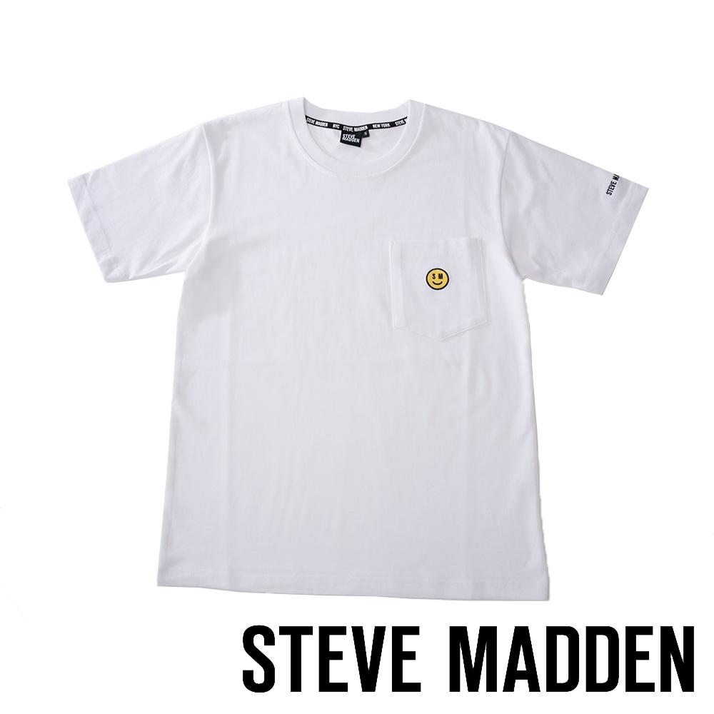 STEVE MADDEN-純棉品牌微笑刺繡LOGO T-Shirt 短袖上衣-白色