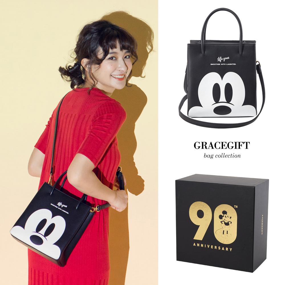 Disney collection by gracegift米奇2way方型提袋-黑
