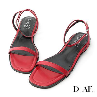 D+AF 純真夏氛.簡約一字繫踝平底涼鞋*紅
