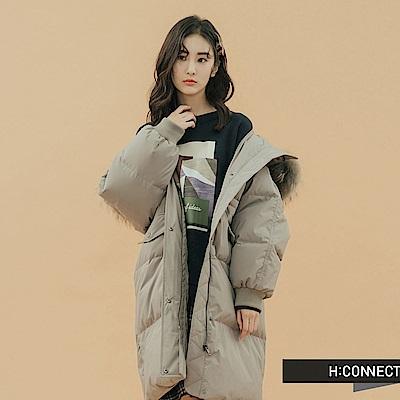 H:CONNECT 韓國品牌 女裝-簡約長版羽絨外套-灰