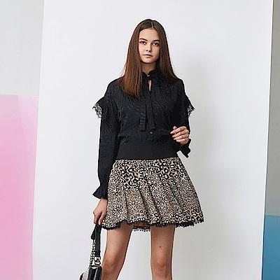 ICHE 衣哲 時尚動物豹紋印花拼接蕾絲造型圓裙-太妃糖咖