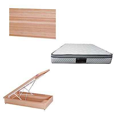 綠活居 梅娜3.5尺單人床台三式組合(床頭片+後掀床底+正三線防蹣獨立筒)五色可選