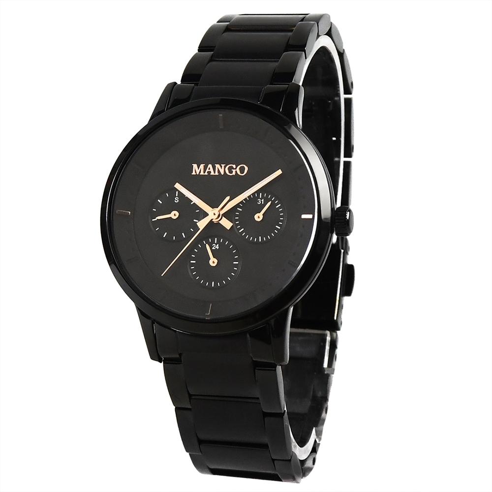 MANGO都會雅痞時尚對錶-黑色/36mm