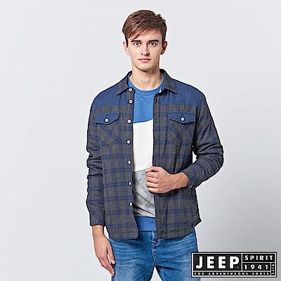 JEEP 造型撞色拼接格紋襯衫式外套-深藍