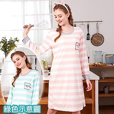 睡衣 條紋紅鶴 針織棉長袖連身睡衣(R75205-4湖水綠) 蕾妮塔塔
