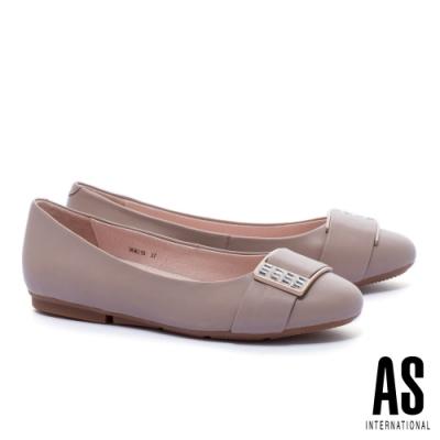 平底鞋 AS 白鑽方釦全真皮圓頭平底鞋-米