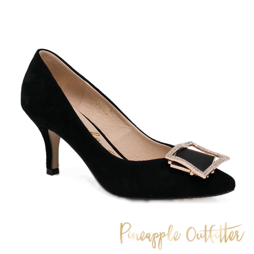 Pineapple Outfitter-PAGET 時尚名媛真皮方鑽高跟女鞋-黑色