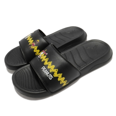 Puma 拖鞋 EANUTS Popcat 20 Jr 女鞋 史奴比 聯名 夏日必備 大童 黑 黃 37582501