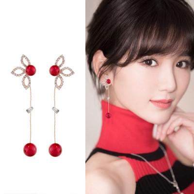 梨花HaNA 韓國925銀葉片鑽石葉語耳環金色紅珠款