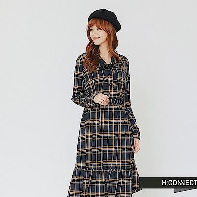 H:CONNECT 韓國品牌 女裝-綁帶格紋魚尾洋裝-藍