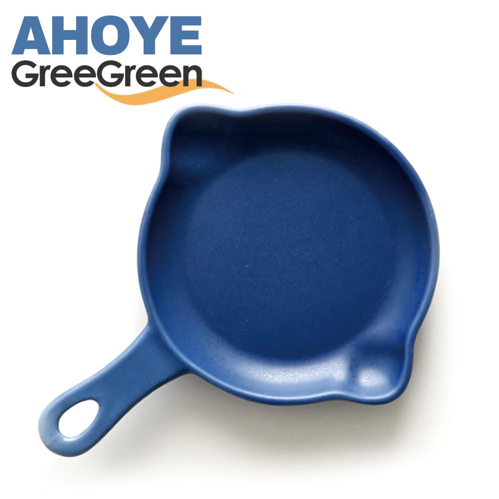 GREEGREEN 雙嘴單柄圓形陶瓷烤盤 5吋 藏藍 餐盤 盤子 點心盤 (8H)
