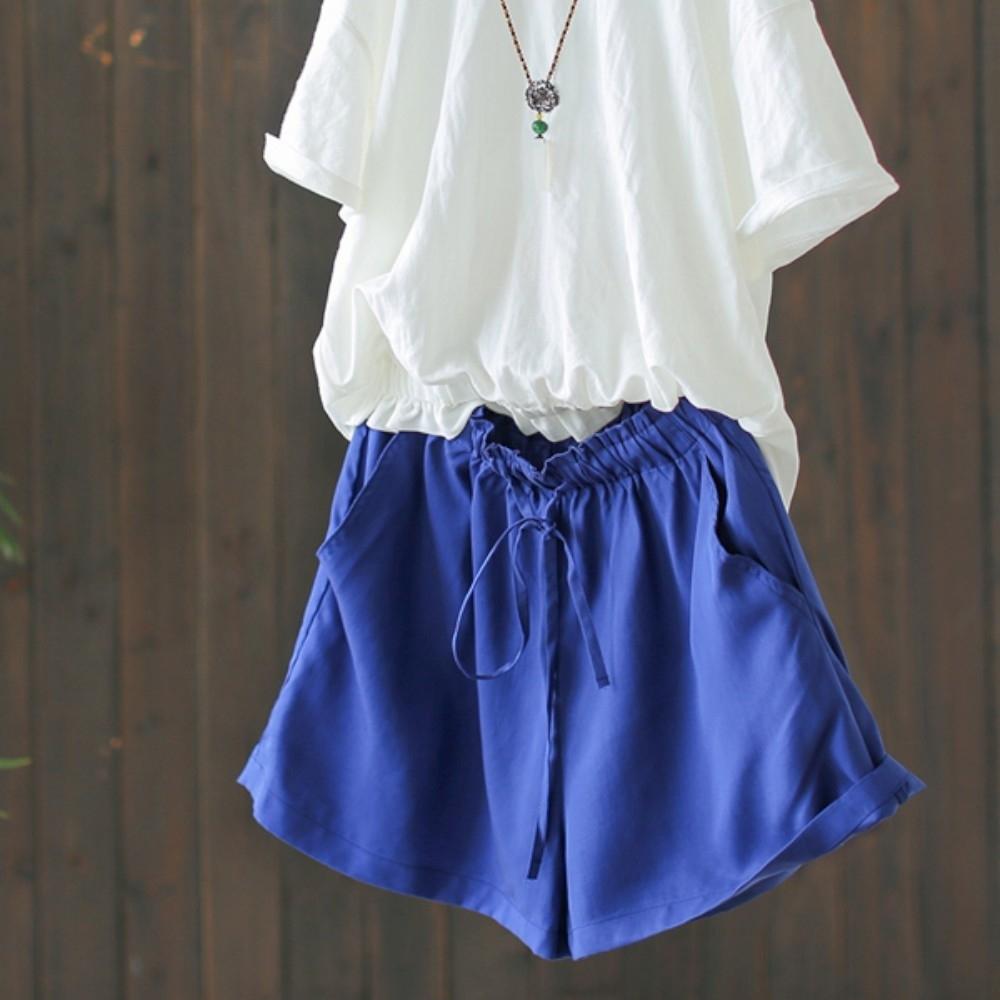 素色天絲花瓣腰短褲寬鬆顯瘦褲子-設計所在