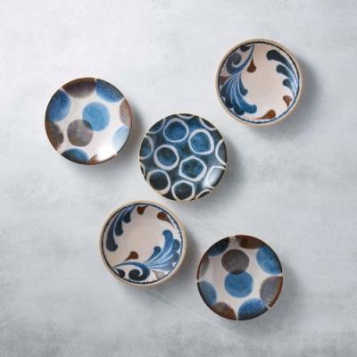 有種創意 日本美濃燒-筆青釉繪小餐盤組(5件式)