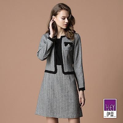 ILEY伊蕾 小香風格紋緹織假兩件洋裝(灰)