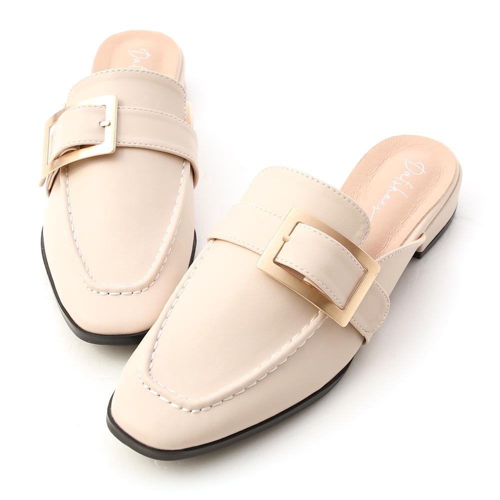 D+AF 文青步調.質感大方釦低跟穆勒鞋*米