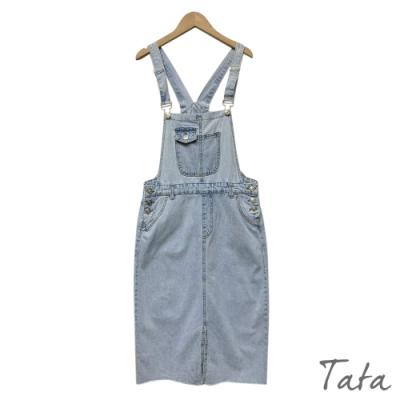 側排扣開岔吊帶牛仔裙 TATA-(M~XL)