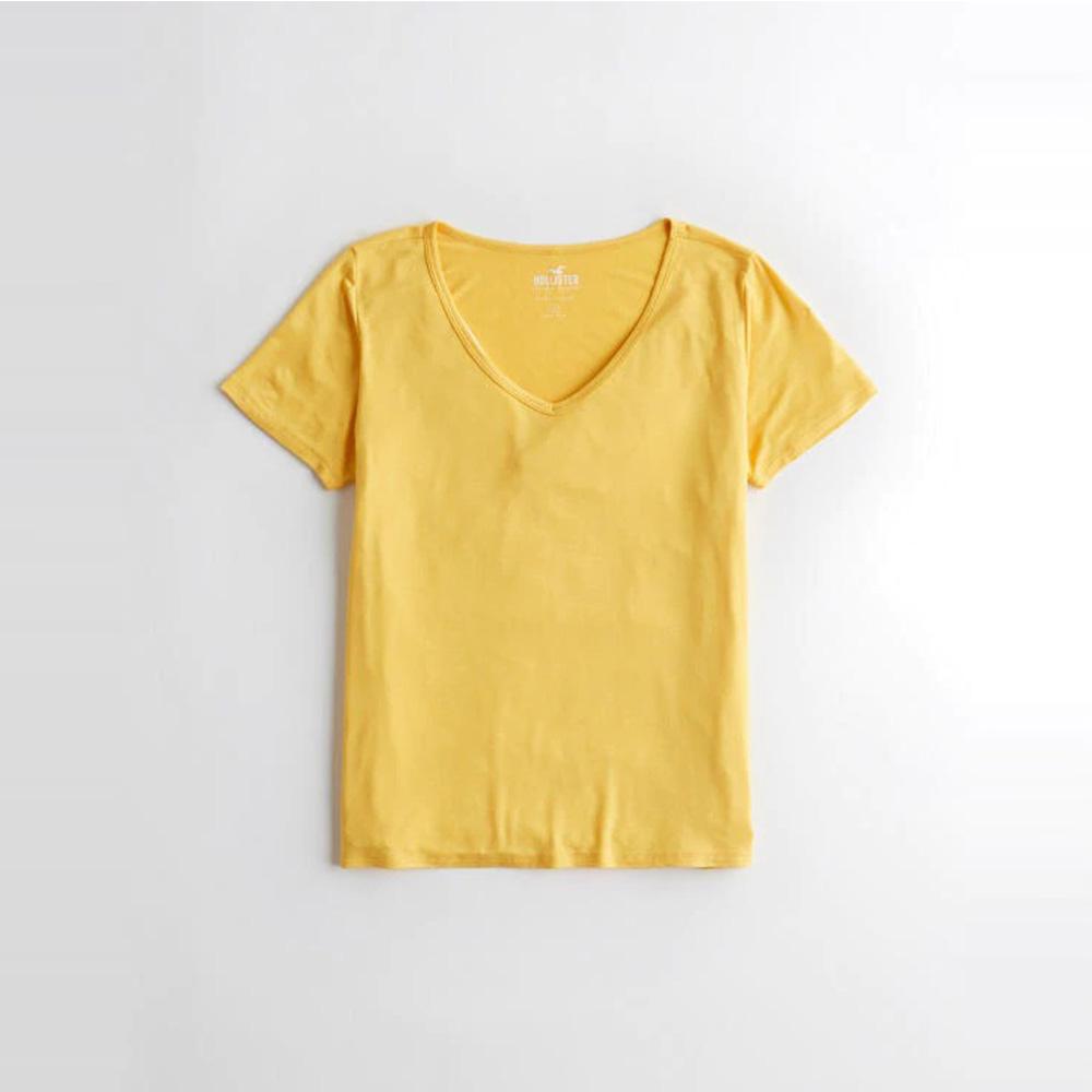 海鷗 Hollister HCO 經典刺繡海鷗V領素面短袖T恤(女)-黃色