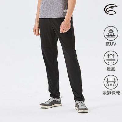 ADISI 男排汗抗UV窄管運動長褲 AP2111105|黑色