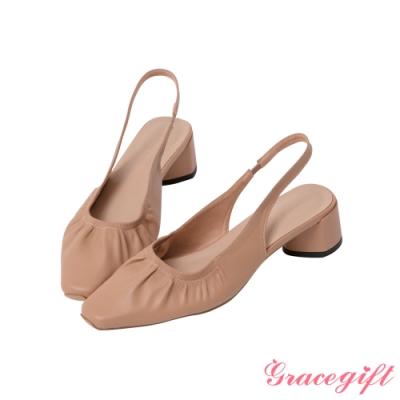 Grace gift-方頭抓皺後空中跟鞋 淺駝