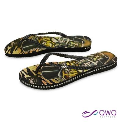 QWQ 女款插圖夾腳人字拖鞋-鞋帶保固-水鑽拖鞋-造型拖鞋-Gentleman Tiger-黑(ADST02805)