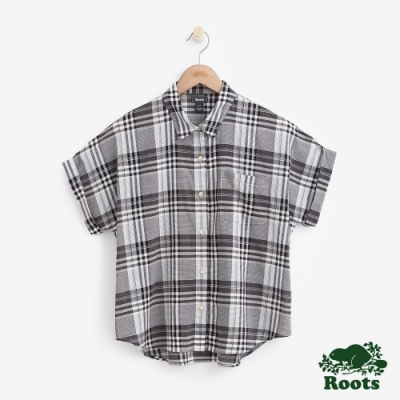 女裝Roots 馬德拉斯格紋短袖襯衫-黑