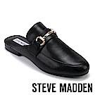 STEVE MADDEN-KANDI 馬銜扣真皮低跟穆勒鞋-黑色