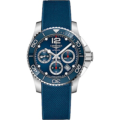LONGINES 浪琴 深海征服者浪鬼陶瓷計時潛水機械錶-藍/41mm