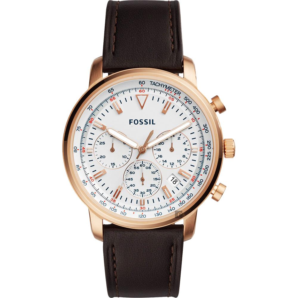 FOSSIL 都會摩登計時手錶-白x咖啡/44mm FS5415