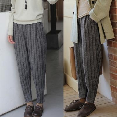 休閒褲-綿羊毛條紋哈倫寬鬆蘿蔔直筒-設計所在