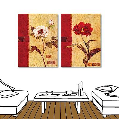 橙品油畫布 兩聯式直幅 藝術無框畫-古典花30x40cm