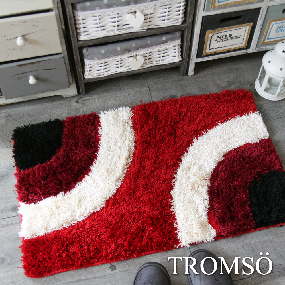 TROMSO 凱薩頂級厚絨毛吸水大地墊-M523圈圈亮絲紅