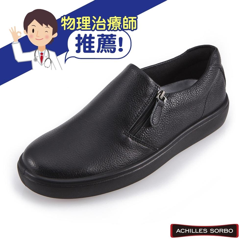 ACHILLES SORBO 日本專業健康鞋-易穿脫拉鏈造型樂褔休閒鞋-黑